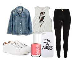 """Denim Jacket <3"" by olga05 ❤ liked on Polyvore featuring Madewell, River Island, Abercrombie & Fitch, MANGO, LAUREN MOSHI and Essie"