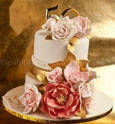 Golden Anniversary Cake by Ipshita's cakes mamma bakes