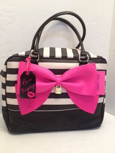 0f1def69f7ff NWT Betsey Johnson Weekender Bag Bow Nanza Ribbons Bone Black NWT   BetseyJohnson  TravelWeekender