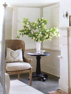Chair. Table. Flowers