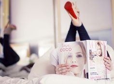 """relax, read vogue, have cappuccino or champagne, while wearing my """"Red Soled Shoes'"""