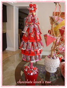 Valentine Tree- Looks super cute, one way I have seen it done is by using pins to attach candy instead of glue gun so its easy to remove.