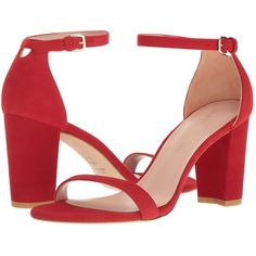 Stuart Weitzman Nearlynude (Red Suede) Women's Shoes ($398) ❤ liked on Polyvore featuring shoes, sandals, block heel platform sandals, strap sandals, red strappy sandals, stuart weitzman sandals and red sandals