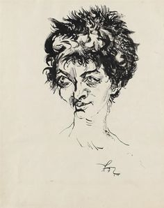 View Mädchenkopf By Ludwig Meidner; feather- and brush and india ink drawing; Access more artwork lots and estimated & realized auction prices on MutualArt. Karl Hofer, Ludwig Meidner, The Royal School, Amedeo Modigliani, India Ink, Art Auction, Art School, First World, Printmaking