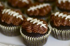 "Double Chocolate ""Football"" Cupcakes 