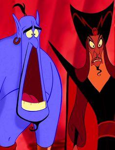 "Genie (Robin Williams) and Jafar (Jonathan Freeman) from ""Aladdin"""