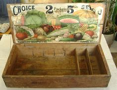 grrrreat primitive seed box!!! fab veg graphics!!! Perrrrrfect for display in french country cottage kitchen!!! luv!!