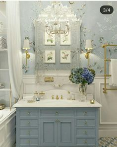 Too fancy but I like the wall paper and wainscoting. The vanity is about the size of the powder room vanity. J Too fancy but I like the wall paper and wainscoting. The vanity is about the size of the powder room vanity. Dream Bathrooms, Beautiful Bathrooms, Blue Bathrooms, Country Bathrooms, French Country Bathroom Ideas, French Bathroom Decor, Cottage Style Bathrooms, Country French, Home Design