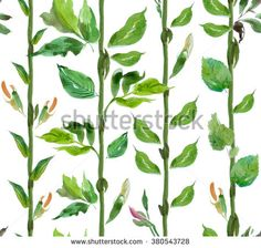 seamless Pattern Watercolor Hand drawn Artwork Vertical Trunks with Leaves Tropical Jungle - stock photo