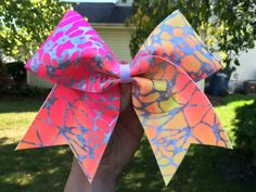 Neon Ombré Web Cheer Bow by RachelsCheerBowtique on Etsy