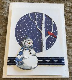 Inkadinkado snowman with birch tree die
