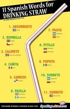 #Infographic 11 SPANISH LANGUAGE WORDS FOR DRINKING STRAW #Spanish #LearnSpanish via http://www.speakinglatino.com/spanish-language-words-for-drinking-straw/ #spanishinfographic