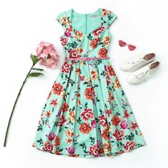 Dress Outfits, Fashion Dresses, Vintage Inspired Dresses, Review Dresses, Green Fabric, Occasion Wear, Fashion Details, My Wardrobe, A Line Skirts