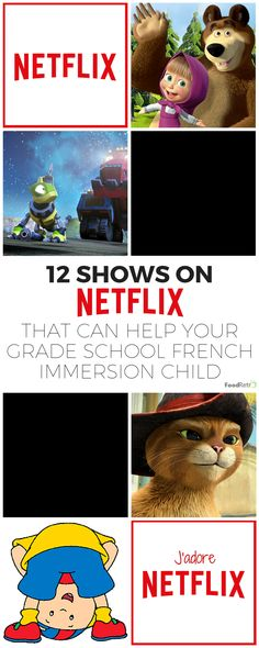 12 Shows on Netflix That Can Help Your Grade School French Immersion Child - Heads up! There's another post with the new shows from 2016 over here! I'm a huge fan of French - Study French, French Kids, Core French, French Food, French Teacher, Teaching French, Teaching Spanish, Spanish Activities, Work Activities