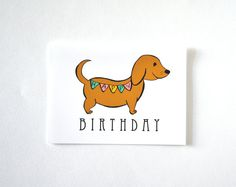 Hot Dog Happy Birthday Day Card Hand drawn by Floating Specks