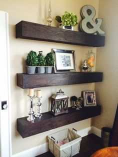 Floating shelves made from oak plywood. Kona stain used.