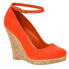 Call It Spring orange cork-look wedge heeled shoes #summer #holiday #shoes