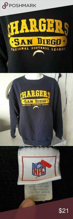"San Diego Chargers Sweatshirt A Large San Diego Chargers Navy,Yellow & White crewneck sweatshirt  Measurements laying flat: L 27"" S2S 23"" P2P 23"" NFL Shirts Sweatshirts & Hoodies"