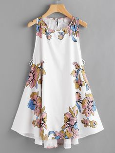 Floral Print Lace Up Side DressFor Women-romwe Dress P, Casual Tops, Dresses Online, Couture, Summer Dresses, Party Dresses, Floral Prints, Cute Outfits, Lace Up