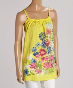 Look what I found on #zulily! Yellow Floral Swing Tank by Just Funky #zulilyfinds