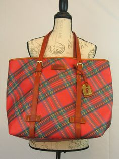 Vintage Dooney Bourke Red Tartan Plaid X/L Tote - Shopper - Over Night - Bag - Weekender # B7145658 Authentic in excellent vintage condition by PinkyLaRoux on Etsy