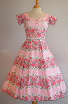 STUNNING 1950s Floral Striped Horrockses Fashions Dress & Jacket 6 8 XS