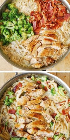 Easy Chicken Broccoli Pasta with Bacon – made with creamy alfredo sauce! This simple recipe is packed with protein and veggies! Easy Chicken Broccoli Pasta with Bacon – made with creamy alfredo sauce! This simple recipe is packed with protein and veggies! Bacon Pasta Recipes, Recipes With Alfredo Sauce, Cheap Pasta Recipes, Baked Chicken Pasta Recipes, Chicken Recepies, Easy Chicken Dinner Recipes, Alfredo Recipe, Broccoli Recipes, Chicken Broccoli Pasta