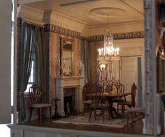 Merriman Park, Palladian style dollhouse: Dining room with George Hepplewhite influenced shield back chairs. Take a look at my Hepplewhite shield back chairs: http://thesoboleditions.blogspot.com/2013/03/hepplewhite.html