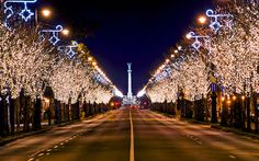 """The """"Avenue of lights"""" leading all the way up arrow-stright Amdrássy Avenue to Heroes' Square in Budapest, Hungary"""