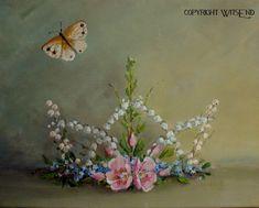 Fairy Crown painting stil life original ooak art roses flowers  Free USA shipping via Etsy