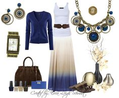 "This is my ""Summer isn't quite over yet, but I'm ready for Fall"" look!  Featuring: ""Indigo"" necklace and earings. ""Jasmine"" ring. ""Ancient Times"" watch. Kathyblingblingboucher.mypremierdesigns.com code:  2013"