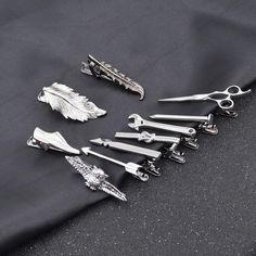 Mixed Color Bar Alloy Mirror Classic Stripe Business Accessory LANDUM 3 Pieces Tie Clip for Mens