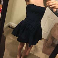 Dark Blue Short Strapless Dress