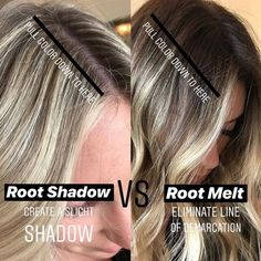 Blonde Roots, Brown Blonde Hair, Dark Roots, Black Hair, Cabelo Inspo, Redken Hair Color, Redken Hair Products, Hair Color Formulas, Hair Color Techniques