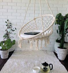 Round Hammock Chair Macrame Swing Round Cotton Home Swing Garden Hammock Garden Hammock, Outdoor Hammock, Hammock Swing, Hammock Chair, Swinging Chair, Diy Chair, Swing Chairs, Hanging Chairs, Chair Cushions