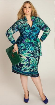 Paisley Printed Faux Wrap Dress :: I love the colors in this one. Not so sure about the print, though.