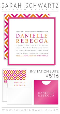 A modern pink and orange Bat Mitzvah invitation suite with a reversing diamonds pattern