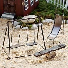 "Mini Swing Set for Fairy Garden Playgrounds This Miniature is 4""h (w/out picks) This is for just the swing set the other playground items are offered on our sit"