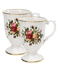 "Royal Albert ""Old Country Roses"" Fluted Mugs, Set of 2 - Glassware - Dining & Entertaining - Macy's"