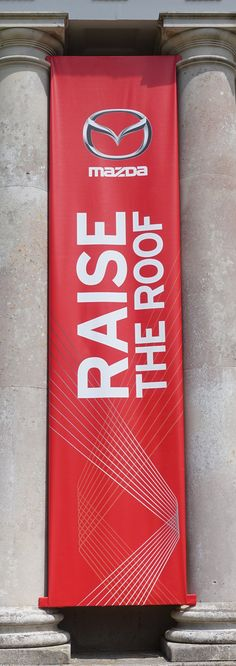Printed vertical PVC advertising banner.