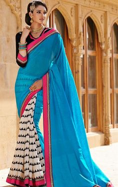 Picture of Elegant Blue and Off White Color Designer Saree