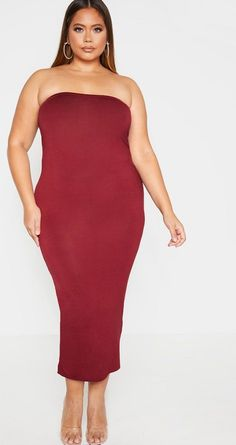 Ensure all eyes are on you this season in this fierce strapless rust midi dress. In chic jersey fabric and elasticated back this bodycon beauty will give you a standout silhouette. Team with matching nude strappy heels and matte lips for a . Cocktail Dresses With Sleeves, Formal Dresses With Sleeves, Plus Size Cocktail Dresses, Plus Size Party Dresses, Sexy Dresses, Nice Dresses, Amazing Dresses, Plus Size Bodycon Dresses, Bodycon Dress Parties