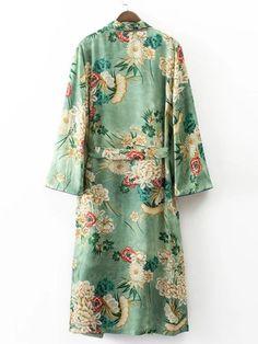Calico Print Contrast Piping Self Tie Longline Kimono -SheIn(Sheinside)