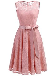 02de243594f Dressystar DS0009 Women s Floral Lace Dress Short Bridesmaid Dresses with  Sheer Neckline XL Blush