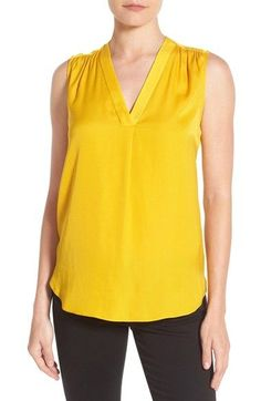 Vince Camuto V-Neck Rumple Blouse (Regular & Petite)
