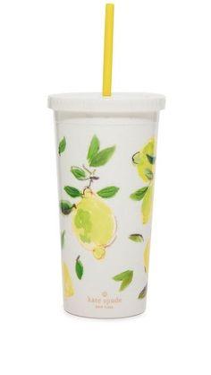 Kate Spade New York Lemon Tumbler with Straw