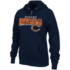Chicago Bears Ladies Football Classic III Full Zip Hoodie Sweatshirt by Majestic $44.95