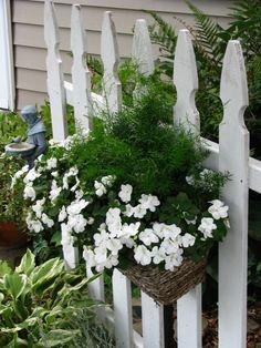 wonderful basket of flowers on white picket fence. So pretty.