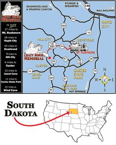 South Dakota - Mount Rushmore and Crazy Horse Memorial map Canada Travel, Us Travel, Places To Travel, Places To Go, Canada Trip, South Dakota Vacation, South Dakota Travel, Vacation Trips, Vacation Travel