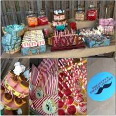 Vintage circus candy station - Bridal shower